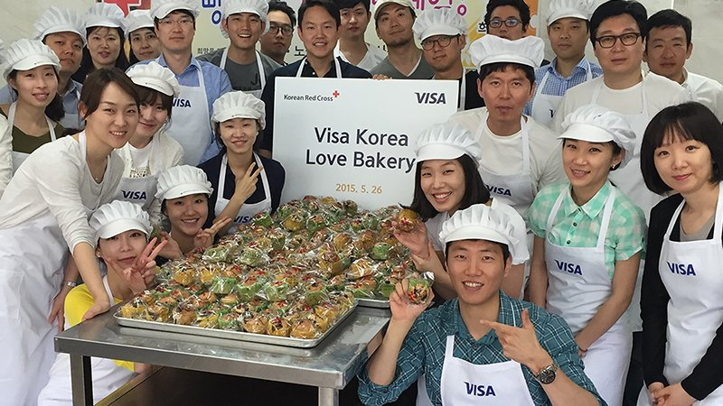 Visa Korea bakery volunteers