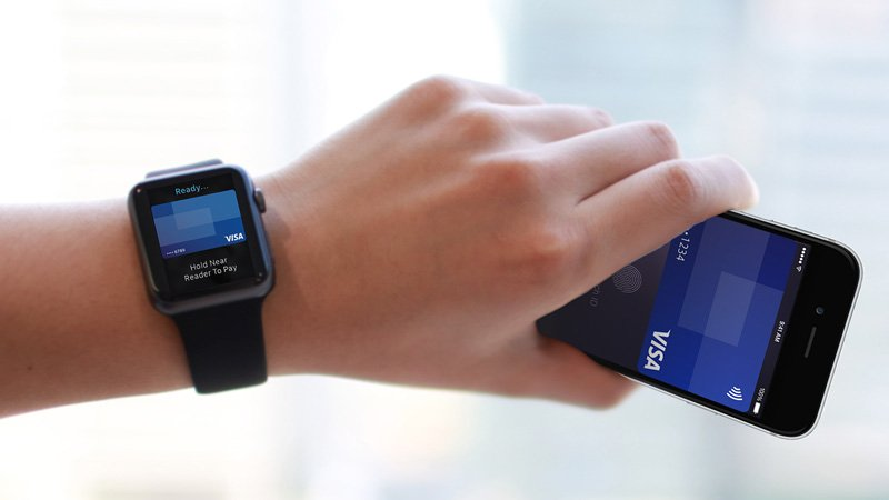 Hand holding a mobile phone with a Visa card on screen and an Apple watch on the wrist with a Visa card on screen.