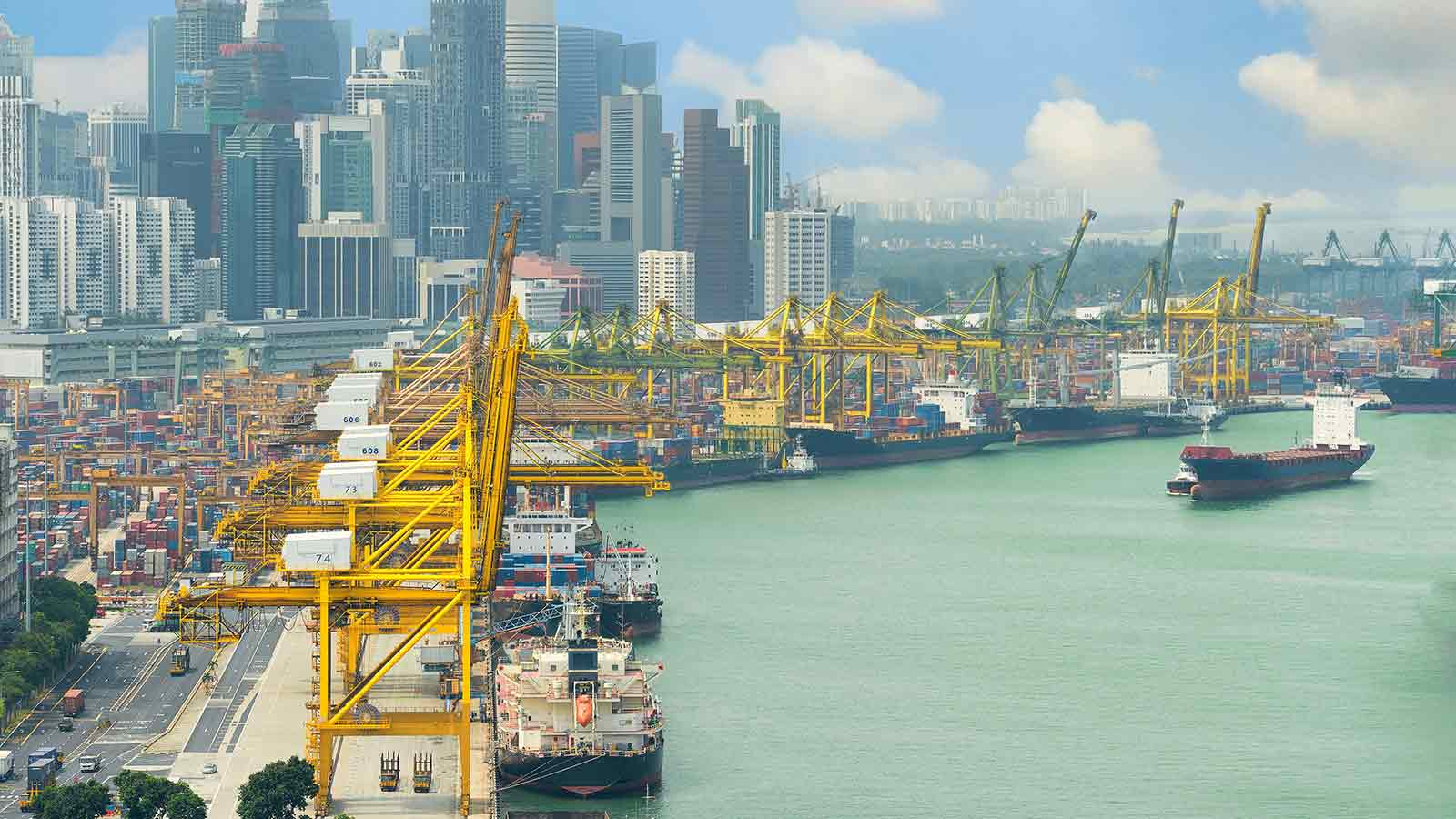 View of a shipping port cityscape.