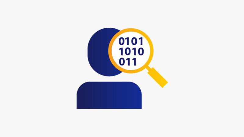 Illustration of a user data icon represented by a solid blue person behind a magnifying glass magnifying binary numbers.