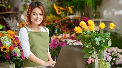 Florist working on a laptop