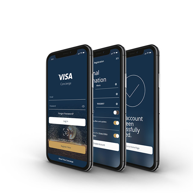 Visa Concierge app on mobile phones